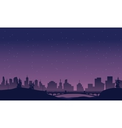 Bridge and city landscape of silhouette vector