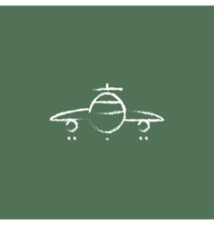 Airplane icon drawn in chalk vector