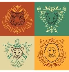 Animal heads in frames vector