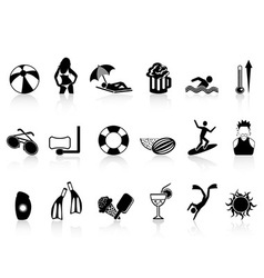 black summer heat icons set vector image