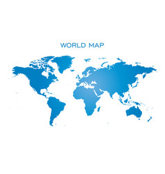 Blank blue world map isolated on white background vector