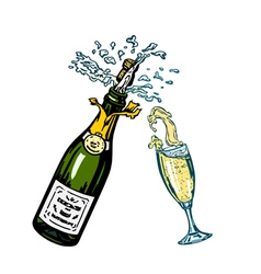 bottle of champagne and glass of champagne vector image