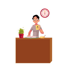 businessman having breakfast at home drinking vector image