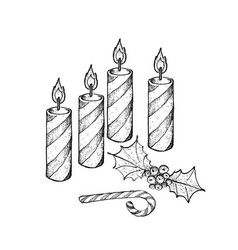 four christmas candles with holly twigs and candy vector image vector image