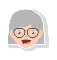 Front face elderly woman short hair with glasses vector