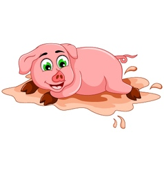 Funny pig cartoon playing in mud puddle vector