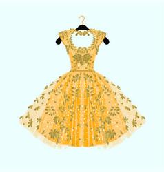 Gorgeous golden dress vector