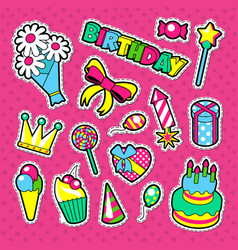Happy birthday party decoration stickers vector