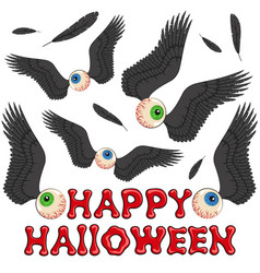 happy halloween background with eyes and wings vector image