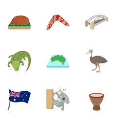 Holiday in Australia icons set cartoon style vector image vector image