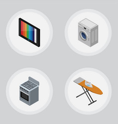 Isometric appliance set of television laundry vector