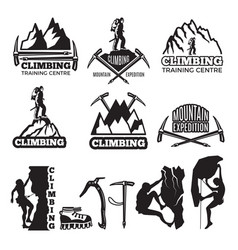 mountain climbing and different equipment vector image vector image