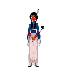 Native american indian woman in national fringed vector