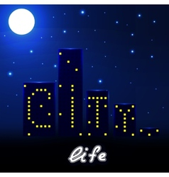 Night city life with houses and lights vector image