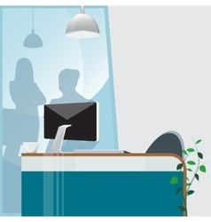 Office Work Place with Computer and Plant vector image