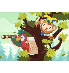 Pilot Monkey Tree Forest Search vector image