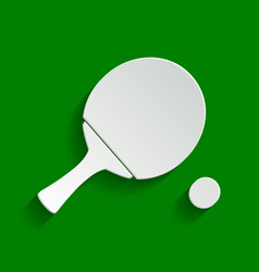 Ping pong paddle with ball paper whitish vector