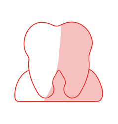 Red shading silhouette cartoon gum and contour vector