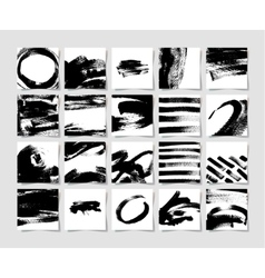 Set of 20 black ink brushes grunge square pattern vector