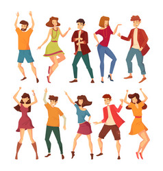 Set of isolated dancing men and women vector