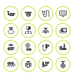 Set round icons of video surveillance vector