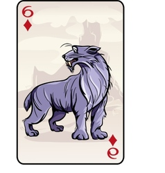 Six of diamonds playing card with a lynx vector