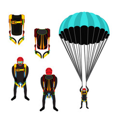 skydiving school academy set parachute pack vector image vector image