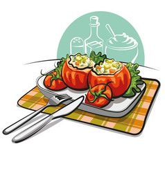 stuffed tomatoes vector image vector image