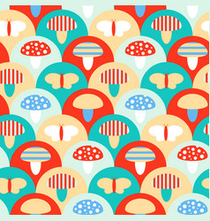 Stylized seamless pattern texture with mushrooms vector