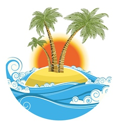 Tropical island symbol seascape with sun isolated vector image