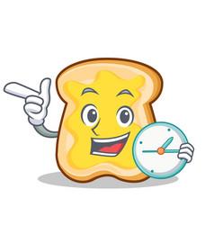 with clock slice bread cartoon character vector image vector image