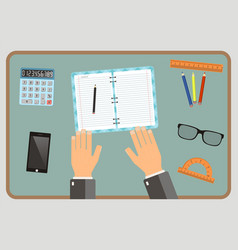 Workplace concept top view hands calculator vector
