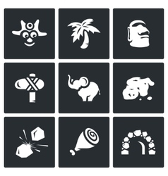 Set of papuan icons savage tropical vector