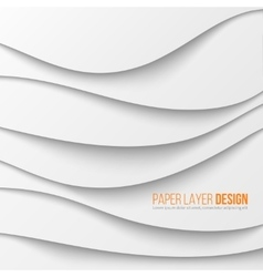Abstract white waved paper layers with drop vector