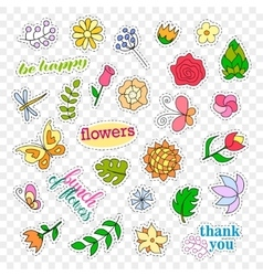 Fashion patch badges flowers set stickers pins vector