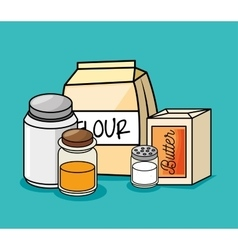 Cartoon ingredients breakfast kitchen vector