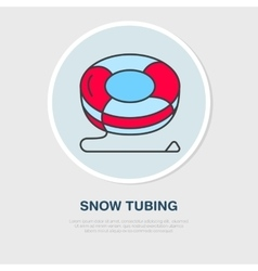 Thin line icon of snow tubing winter vector