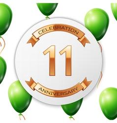 Golden number eleven years anniversary celebration vector