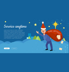 Postman in christmas hat hurry to deliver letters vector
