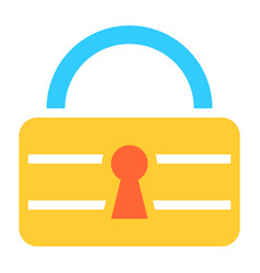 flat padlock icon lock sign password button vector image