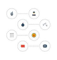 Flat icons safe forbidden camera and other vector