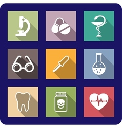 Flat medical and healthcare icons vector