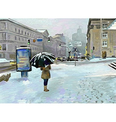 Digital art painting of winter city landscape vector