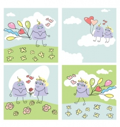 set of funny valentine cards vector image