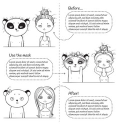3 steps facial treatment monochrome instruction vector