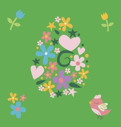 Floral easter post card with bird vector