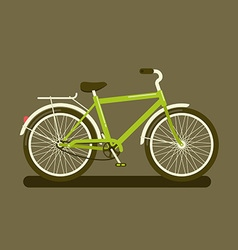 Green bicycle on dark background vector