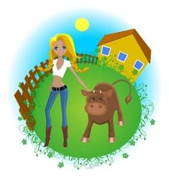 farmer girl vector image