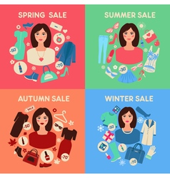Shopping seasonal sale set with woman accessories vector