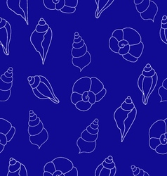 Blue seamless pattern with seashells vector image